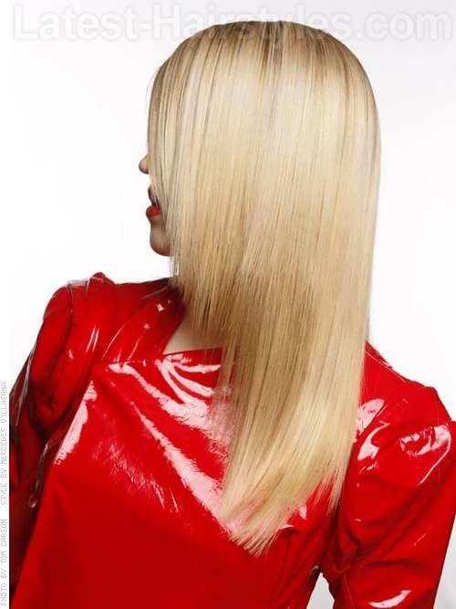 Golden long and smooth hairstyle side view