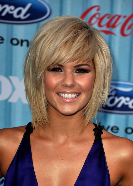 Choppy layers and bangs add interest to a bob hairstyle for both a