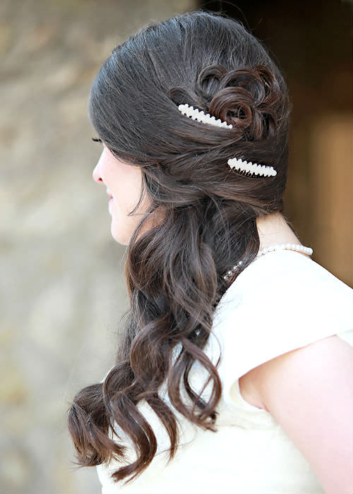 Brunette Bridal Hairstyle with Barrettes