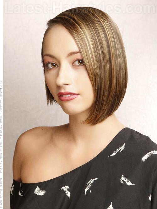 Teen with uneven bob hairstyle