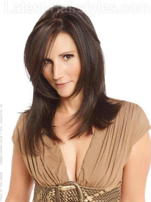 Brunette Goddess Long Layered Style for Straight Hair