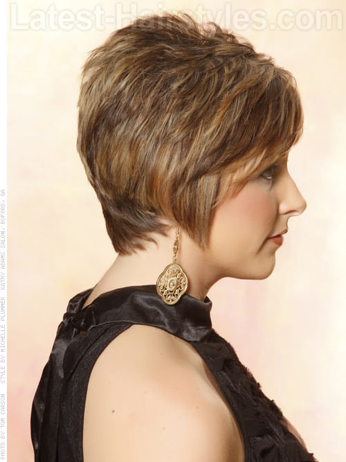 Feathered Pixie Light Brunette Highlighted Cut Side View
