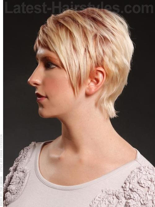 Pale Blonde Sculpted Pixie with Longer Bangs Side View