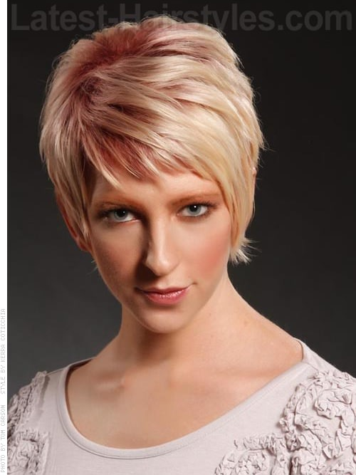 Pale Blonde Sculpted Pixie with Longer Bangs