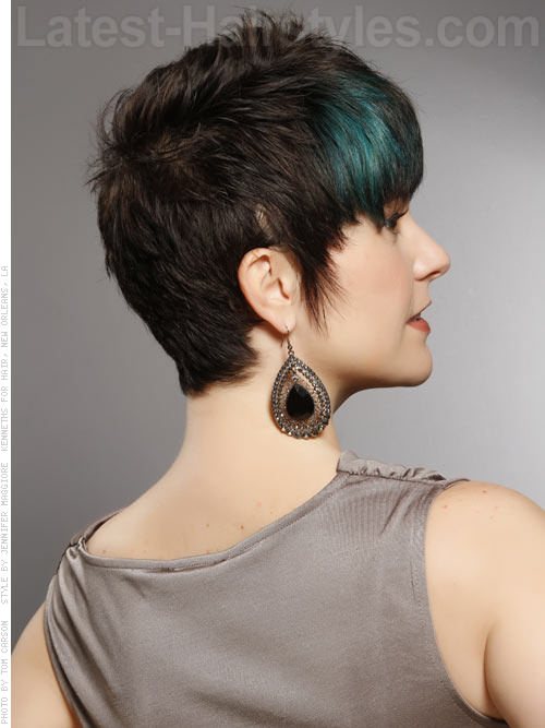 Cute Short Brunette Pixie with Blue Peacock Highlights