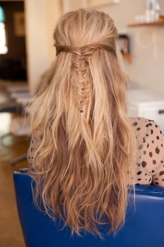 half up half down hairstyle with fishtail braid
