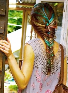 rainbow colored fishtail braid