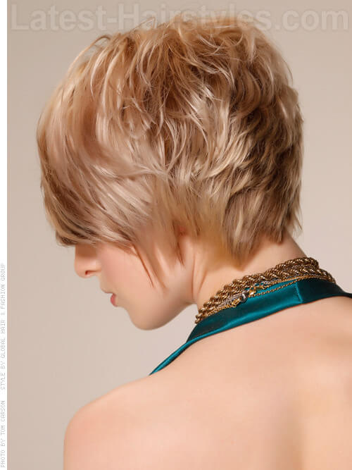 Graduated Bob Stacked Tapered Layers Blonde Look Back View