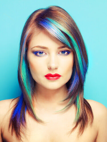 Displaying (20) Gallery Images For Red Hair With Blue Highlights...