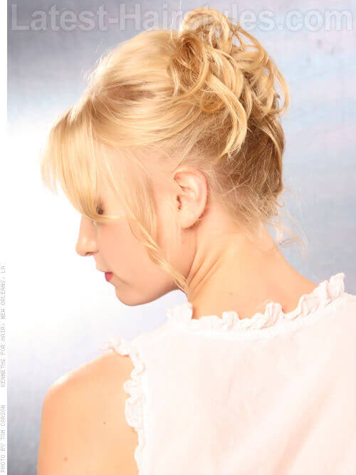 Best Disheveled Updo with Fringe Side View