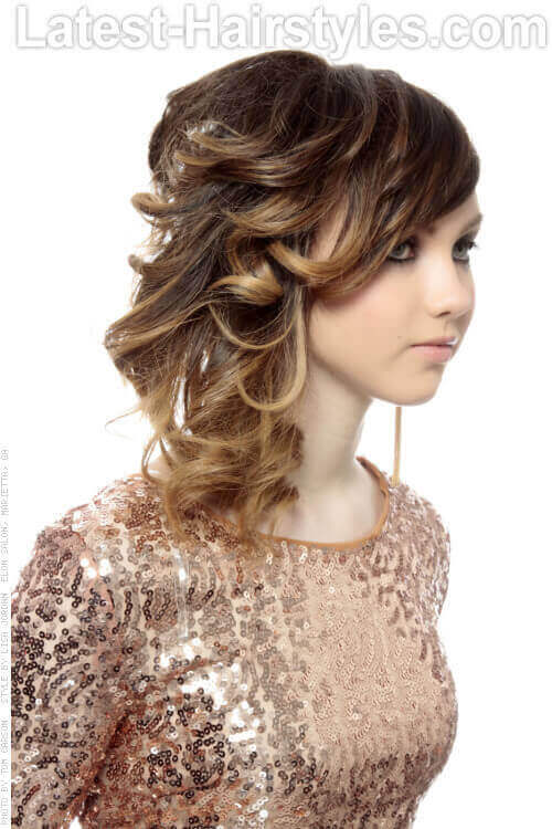 Funky Side Swept Hairstyle with Curls Side View