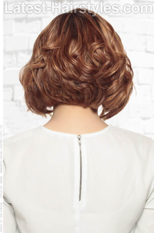 Best Wavy Short Stacked Hairstyle Back View