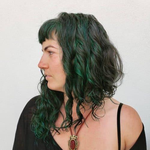 curly asymmetrical long bob