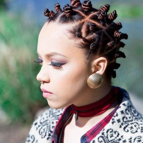 Bantu hairstyle on natural hair