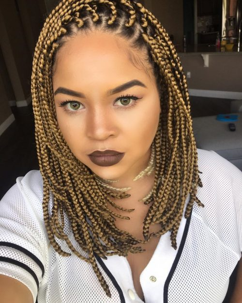 blonde medium box braids