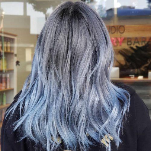 Blue grey ombre hair color