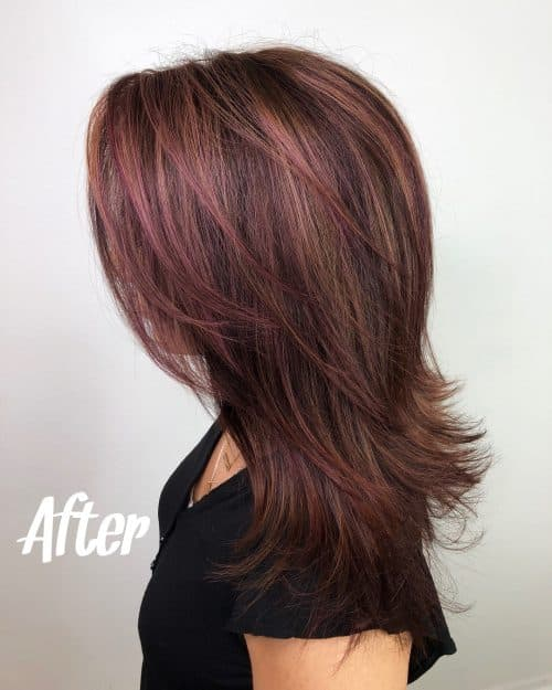 Brown Hair Burgundy Highlights