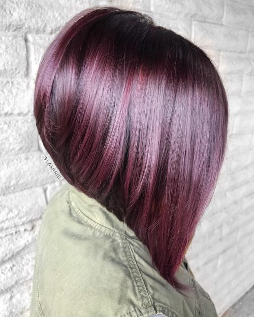 Burgundy red medium length stacked bob haircut and color