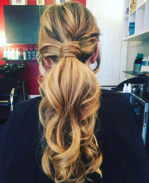 Casual hairstyle with boho ponytail