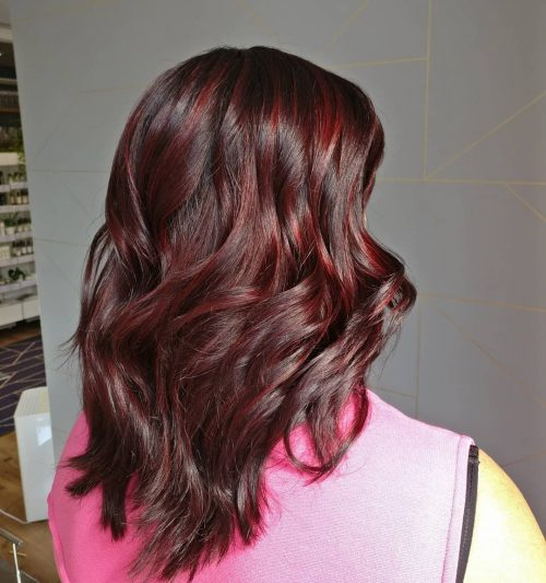 Chocolate Brown Hair With Crimson Red Highlights