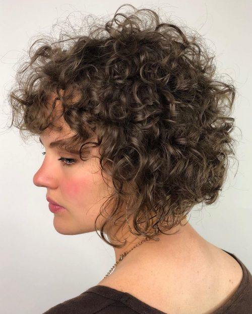 Curly inverted bob with bangs