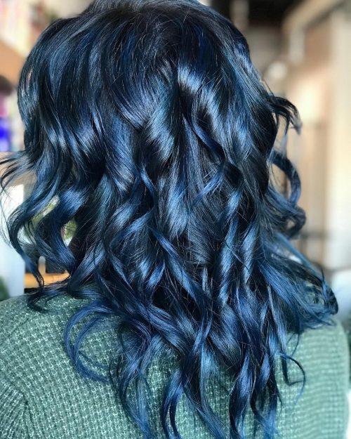 Curly Dark Blue Hair