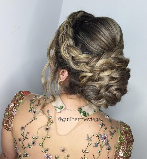 Curly Low Braided Updo