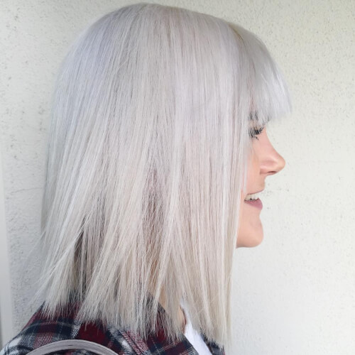 cute blunt icy blonde hair