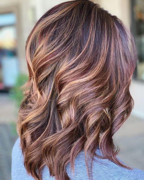 Dark Hair with Blonde and Burgundy Highlights
