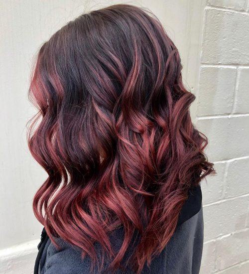 Dark red burgundy hair color