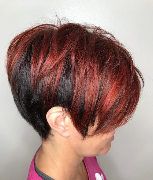 Dark Short Hair with Dark Red Highlights
