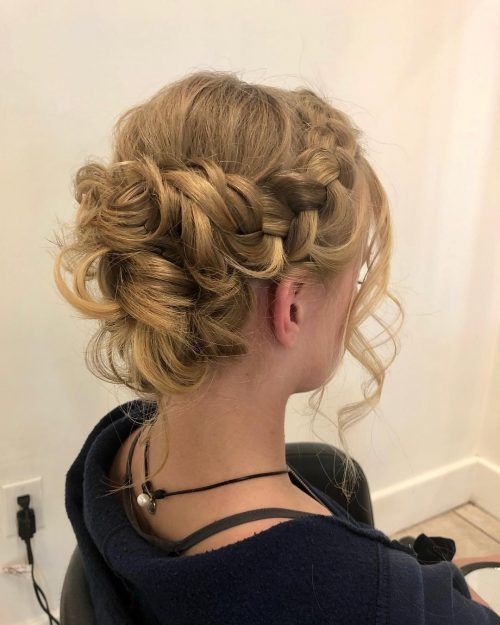 Easy Bun Updo with Braids for quinceanera