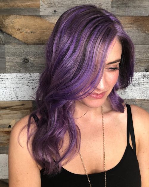 Electric Purple Highlights in Brown Hair