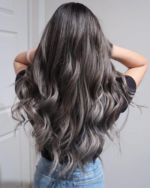 Grey Balayage on Black Hair