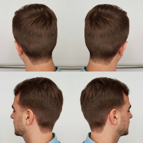 Haircut with taper fade and squared neckline