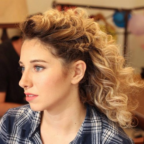 Honey blonde hair curls