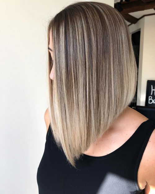 Long Inverted Bob with Layers for Straight Hair
