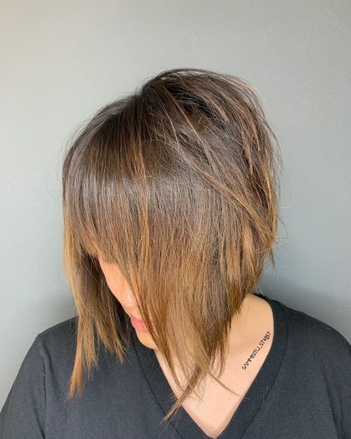 Layered a line bob with bangs