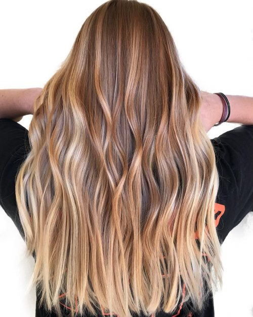 Light brown hair to blonde ombre