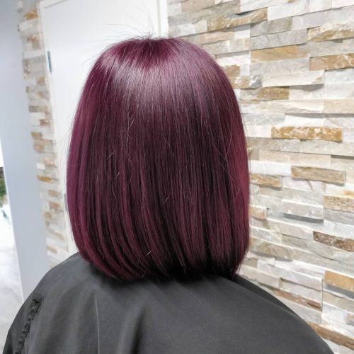 Shoulder Length Hair with a Light Plum Hair Color