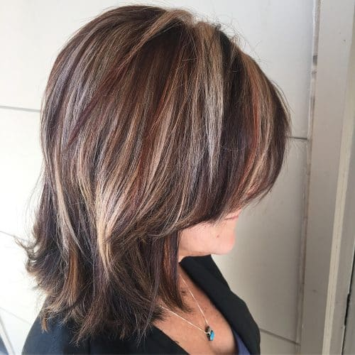 Long Bob With Blonde and Red High lights