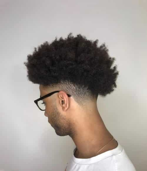 Long curly hair fade