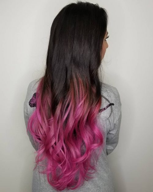 Magenta ombre hair color on long hair