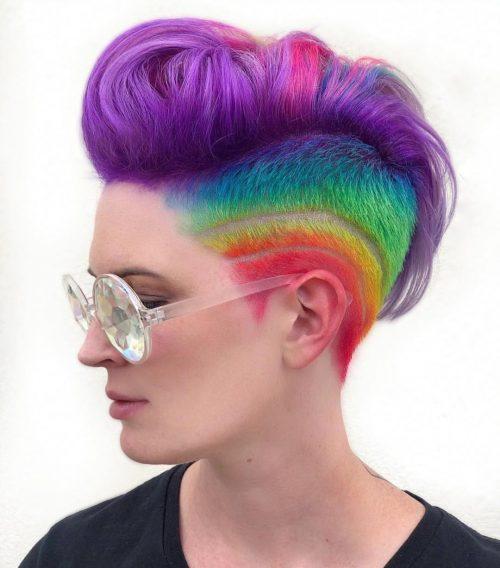 Lovely Rainbow Colors on Short Hair