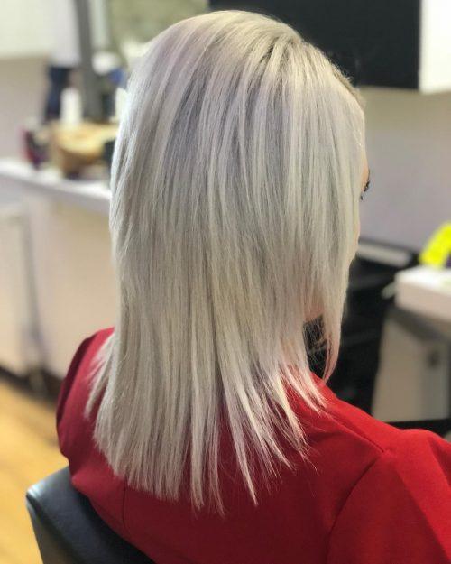 Mid-Length Platinum Blonde