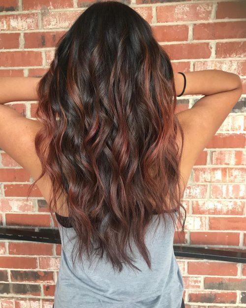 Natural Black with Reddish Brown Hair