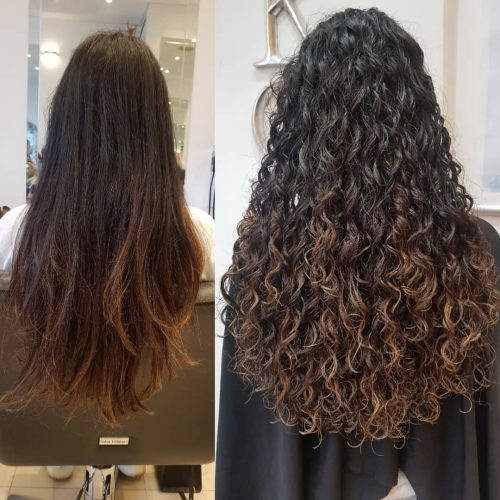 Partial spiral perm for long hair