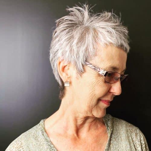 Short Grey Pixie Cut