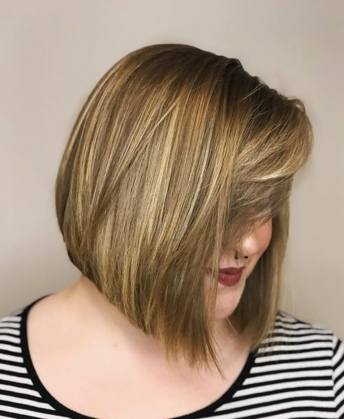 Long stack bob with bangs