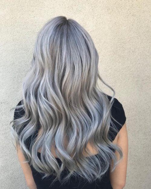 Subtle lilac hair on long tresses